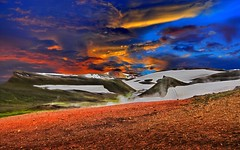 Iceland ~ Landmannalaugar Route ~  Ultramarathon is held on the route each July (Onasill ~ Bill Badzo) Tags: iceland landmannalaugar route trail hiking snow mountain nature sky clouds onasill landmark historic hdr landscape july reykjavk ultramannalaugar