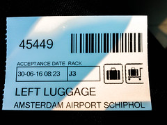 Left Luggage (Remko Tanis) Tags: luggage schiphol airport amsterdam receipt noordholland netherlands nl