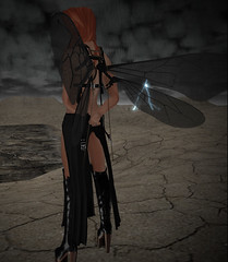 Walk in the rain (niki wirefly) Tags: male dark landscape wings sl fairy fantasy secondlife fairey niki fae