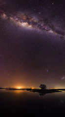 Island Point Milky Way - Vertical Panorama No 2 (inefekt69) Tags: island point mandurah collins pool milky way cosmology southernhemisphere cosmos southern westernaustralia australia dslr long exposure rural nightphotography nikon stars astronomy space galaxy astrophotography outdoor milkyway core great rift 16mm 1116mm tokina d5100 panorama stitched mosaic ice gnarly tree reflections water lake inlet nature atxpro wide angle silhouette small magellanic cloud landscape serene sky explore explored