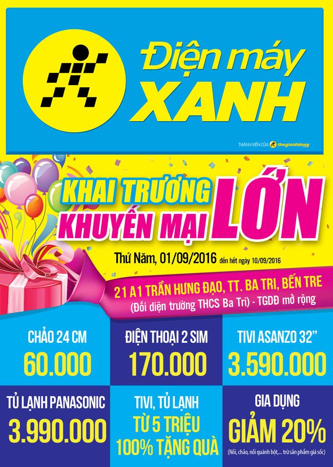 Khai trương siêu thị Điện máy XANH Ba Tri, Bến Tre