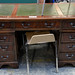 Green leather top mahogany partners desk €180
