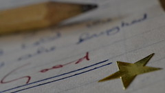 Homework (mitchell_dawn) Tags: school exercisebook essay schooldays goldstar homework assignment writing good pencil star macro macromondays stars childhood