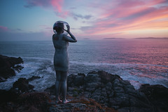Space Two (SaraiDeza) Tags: art film beautiful explore inspired conceptual creative photo photography blue ocean woman girl portrait selfportrait cliff sea concept space fine creativephotography conceptualphotography