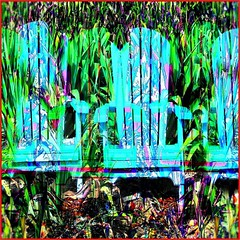 Three Blue Chairs Hiding (Joe Vance aka oliver.odd) Tags: art abstract surreeal garden overgrown blue chairs blending mannequins hiding day hot woods trees night when awoke