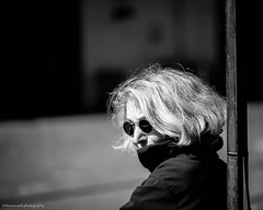 between cities (bluechameleon) Tags: granvilleisland sharonwish alone bw blackandwhite bluechameleon bluechameleonphotography bokeh candid city light portrait street streetphotography streetportrait sunglasses urban vancouver woman monochrome