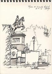 Felipe IV en la Plaza de Oriente de Madrid. (f.gmezcorisco) Tags: sketch rotulador madrid cuaderno airelibre