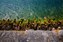 Adventures with Ricoh - Cornwall - 4. The dock of the bay () Tags: ricoh ricohgr blue green wall sea water harbour looe cornwall uk summer