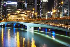 Jubilee Bridge (monique_sg) Tags: singapore jubileebridge water night bridge marinabay singaporeriver olympus epm2 slow shutter panasonic lumix 20mm panasonic20mmf17 slowshutter nightphotography