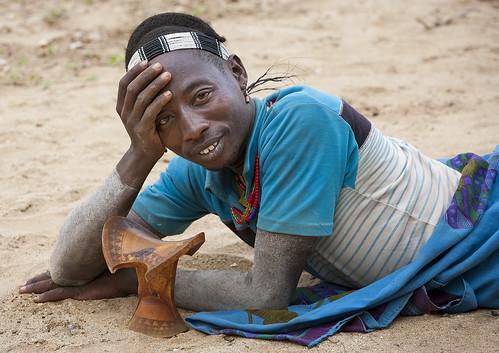 Hamer man with his headrest, Turmi, Ethiopia