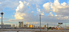 wall street's end (pbo31) Tags: city morning blue summer sky panorama color skyline architecture clouds sunrise hotel nikon view lasvegas contemporary empty nevada wide over large lot panoramic casino structure september end vista wallstreet stitched stratosphere 2012 cleared d700