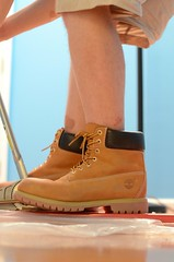 DSC_6407 (jakewolf21) Tags: wood black work floor boots wheat installation shorts logger timberland chippewa