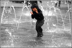 Blurred (* RICHARD M (Over 5.5 million views)) Tags: street wet water liverpool fun mono hoodie action candid happiness blurred hoody fountains dripping soaking soaked merseyside williamsonsquare thedecisivemoment