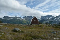 The Weather Improves at Himmelsbach Hut (Michael Garson) Tags: summer cloud mountain canada mountains nature clouds nikon meadow meadows hike hut backpacking shelter treck