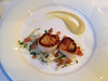 Seared scallops, apple and ginger puree, crispy fennel salad (Bookatable) Tags: london restaurant 11 cadogangardens