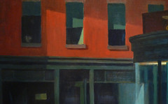 Hopper, Nighthawks with detail of upstairs windows