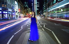 Girl on Bishopsgate (Anatoleya) Tags: street city light 3 bus london buses girl station st night liverpool canon prime evening long exposure dress traffic mark f14 iii trails le l 5d 24mm bishopsgate bluedress f14l 5d3 anatoleya