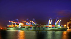 Terminal Tollerort / Explore - Front Page (matt.koerner1) Tags: night port germany deutschland ship pentax nacht harbour hamburg container matthias hafen hdr k5 containerschiff krner sigma1020 tollerort coscoyantian mattkoerner1