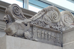 Ara Pacis, Inside left wing of altar with lion-griffin and vestal virgins below scrollwork
