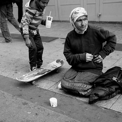 Untitled (Kevin Vanden) Tags: street brussels bw white black streets monochrome square photography photo fuji belgium candid scene beggar format skater beggars x100