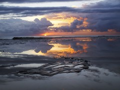 Clouds, Water, Rocks..... (Peter Knott) Tags: ocean morning cloud reflection clouds sunrise newcastle dawn rocks shoreline australia olympus lee e3 zuiko gitzo zd 1260mm newcastlesundance gt2542l