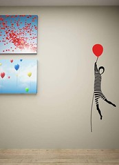 wallsticker evadarea unui mim (cai verzi pe pereti) Tags: red black wall design sticker stripes baloon decal silueta mim balon zbor wallsticker baiat personaj dungi