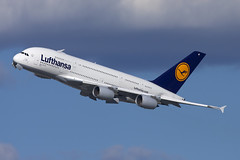 Whale off! (tkolos) Tags: canon airplane flying jfk airbus a380 whale departure takeoff lufthansa 40d