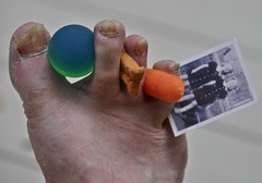 Stuff That Got Stuck Between My Ugly Old Man Toes While Walking Around the House (ricko) Tags: ball foot toes ugly carrot dogbiscuit vintagephoto behappy toenailfungus doesnothurt mdpd2012 mdpd1209 sowhyworry getsworseaslifegoeson