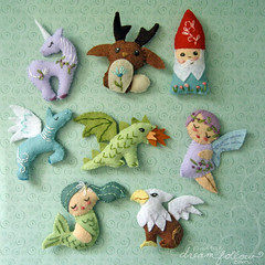 mini felt mythical creatures (merwinglittle dear) Tags: animal gnome pattern dragon sewing pegasus mini felt fairy fantasy mermaid creatures unicorn gryphon mythical jackelope