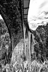 Under the tracks - Wiesen Viaduct from below (Woodacus) Tags: bridge blackandwhite bw white black alps monochrome stone train alpes mono switzerland europe arch walk under wiesen sbb hike alpine below desaturated alpen alpi hdr ffs mountainrange rhb cff rhätischebahn graubunden davosmonstein ef1740mmf4lusm filisur rhaetianrailway viafierretica ferroviaretica canoneos5dmarkii wiesenerviadukt hdrefexpro wiesenviaduct