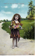 Wont you buy my pretty flowers. (tampatroy727) Tags: flowers girl postcard homeless poor beggar hungry 1914 selling peasant shoeless