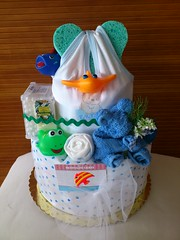 (torte di pannolini PANNOLINI CAKES) Tags: bear blanco socks esponja naranja medias celeste champu calzini nastri spugna accapatoio toallon