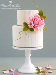 Ribbed Cake with Rose (~Made With Love~) Tags: pink white green rose cake weddingcake sugar stripey ribbed striped fondant gumpaste gallica gallicarose sugarpaste twotier sugarflower