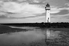 Tide Receding (cathbooton) Tags: lighthouse seascape reflection bird water canon landscape seagull canoneos bnw wirral newbrighton merseyside seadefences canonusers