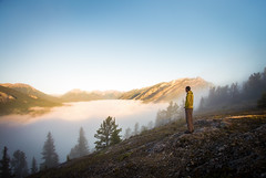 Good Morning! (V.Duplain) Tags: tunnel mountain mountains banff national park alberta canada hike man stand standing staring gazing sunrise sun alpenglow cloud inversion clouds tree blue canon