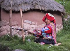 Weaver at Awanacancha (cheryl strahl) Tags: peru incan inca awanakancha cultural textile cusco south america andrean fabric weavings
