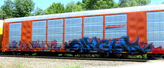 are2 - night (timetomakethepasta) Tags: are2 ba gns goonies night freight train graffiti art bnsf autorack acer