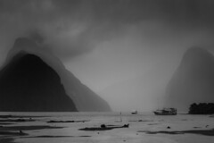 Misty Milford Sound (robertdownie) Tags: fog morning water cold blue rain boats mountain cloud peak clear new sound south island wet gloom fjord refelction maori milford zealand mitre mist nz piopiotahi te wahipounamu rahotu