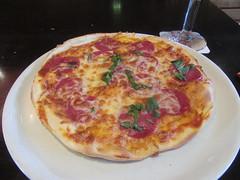 Sausage Pizza at the Feuerwache (cohodas208c) Tags: cheese restaurant sausage pizza bremen pizzeria italianrestaurant thincrust berseestadt harborarea feuerwache5