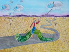 The Cloud Wrangler Sits Upon His Galloping Caterpillar (Fauna Finds Flora) Tags: cowboy clouds caterpillar desert road trees mountains cloudcreatures story narrative whimsical character art nature illustration faunafindsflora