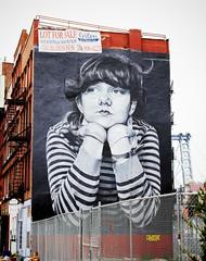 pondering (ekelly80) Tags: newyork newyorkcity nyc brooklyn august2016 summer williamsburg mural art publicart woman thinking pondering blackandwhite williamsburgbridge