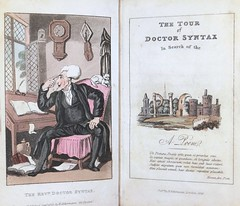 """The Tour of Doctor Syntax: In Search of the Picturesque"" by William Combe. London: R. Ackermann, 1823. Art by Thomas Rowlandson (lhboudreau) Tags: book books hardcover hardcovers hardcoverbook hardcoverbooks vintagebook vintagehardcover vintagehardcoverbook vintagebooks classicstory classicnovel drsyntax doctorsyntax tourofdoctorsyntax tourofdrsyntax thetourofdoctorsyntax thetourofdrsyntax insearchofthepicturesque 1823 rowlandson thomasrowlandson antiques antiquebooks combe williamcombe ackermann rackermann pocketsize pocketsizeeditions firsttour 1sttour tour tours bookart poem poetry illustration illustrations drawing drawings aquatint aquatints titlepage frontispiece syntax"