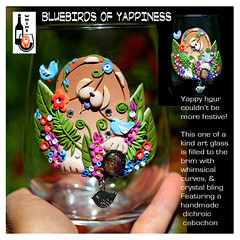 BLUEBIRDS OF YAPPINESS (electra-cute) Tags: polymerclay sandramiller wine glass garden whine artisan
