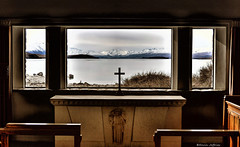 Inside looking Out (Kevin_Jeffries) Tags: window church view landscape inside indoors churchofthegoodshepherd worship alps mountain lake laketekapo newzealand southisland nikon d90 outdoor spiritual new nature winter light lighting natura people water snow old