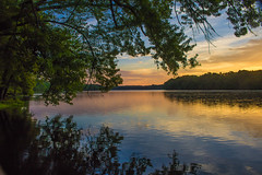 Connecticut River at Dawn (jennifer.yakeyault) Tags: sunrise morning dawn connecticutriver river reflection windsorlockscanalstatepark statepark park canoneosrebelt6i outdoors outside nature natural water trees branches leaves connecticut windsorlocks
