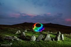 Nine Stones Power Up (entoptika) Tags: entoptika dartmoor belstone ninestones stonecircle cairn lightpainting mushroom mario supermushroom rainbow sunset stones ancient acid
