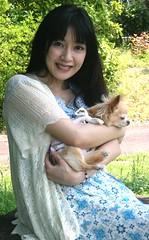In Dog She Trusts. (emotiroi auranaut) Tags: woman lady pretty lovely cute adorable beauty beautiful gorgeous little dog pet japan japanese asia asian charming female feminine femininity attractive face hair sweater dress odaibakaihinpark