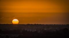 Soleil couchant sur bayonne (nina_cotebasque) Tags: sky sun sunset orange city couchant soleil circle bayonne light town evening