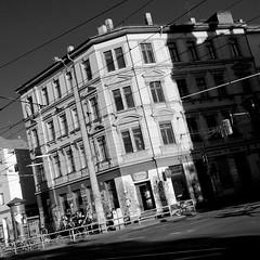 tramway corner (daniel_james) Tags: 2016 plagwitz leipzig saxony germany europe karlheinestrase blackandwhite square architecture canon1022mm