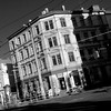 tramway corner (daniel_james) Tags: 2016 plagwitz leipzig saxony germany europe karlheinestrase blackandwhite square architecture canon1022mm